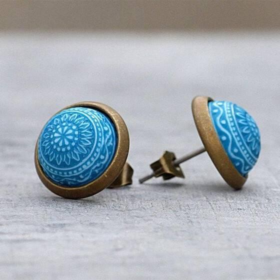 miniohrstecker-marrakesch-blau-tuerkis-relief-schmuckstein-2