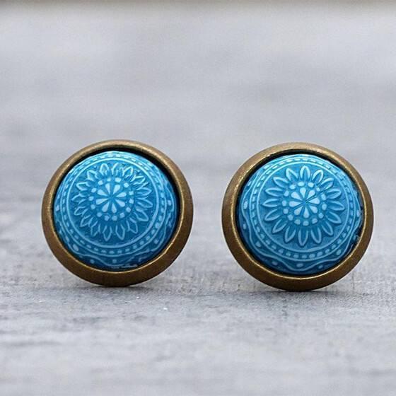 miniohrstecker-marrakesch-blau-tuerkis-relief-schmuckstein