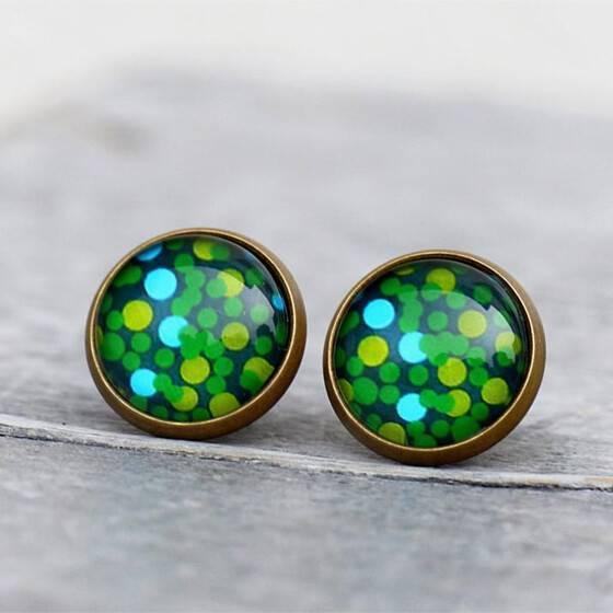 ohrstecker-gruen-greenery-dots-puenktchen-bronze-fassung-2