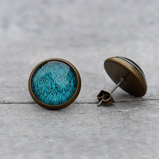 ohrstecker-petrol-damast-bronze-gruen