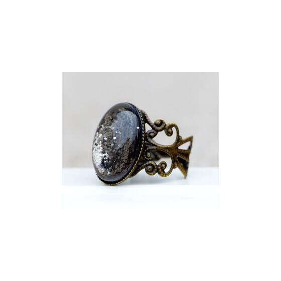 """Verstellbarer-Ring-""""Shades-of-grey""""-grau-glitzernder-Schmuckstein-links"""