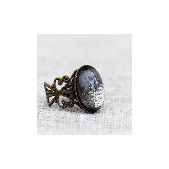 """Verstellbarer-Ring-""""Shades-of-grey""""-grau-glitzernder-Schmuckstein-rechts"""