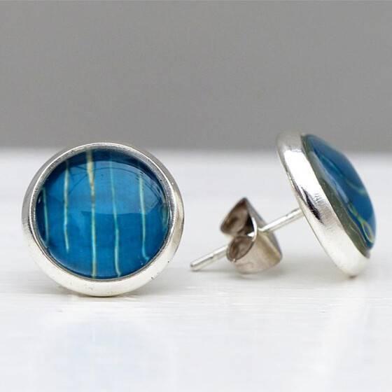 silberne-ohrstecker-aquarell-blau-2