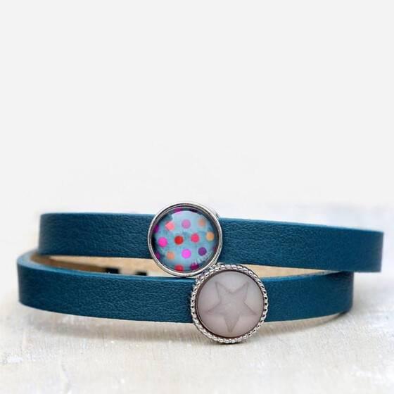 lederarmband-petrol-blau-star-dots-sommerschmuck