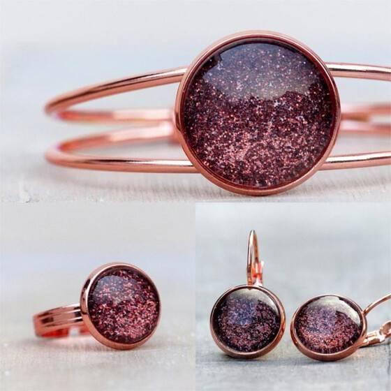 schmuckset-rosegold-bordeaux-schmuckset-rosevergoldet-ohrringe-armreif-ring-bordeauxrot
